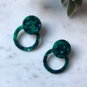 The Alexandra - Emerald Resin Earrings